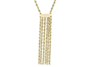 10k Yellow Gold Hollow Tassel Necklace 18 inch