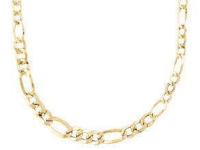 10k Yellow Gold Hollow Figaro Link Necklace 20 inch