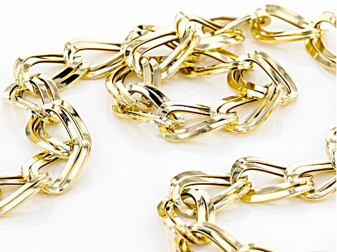 10k Yellow Gold Hollow Curb Link Necklace 22 inch
