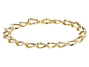 10k Yellow Gold Hollow Curb Link Bracelet 7 inch