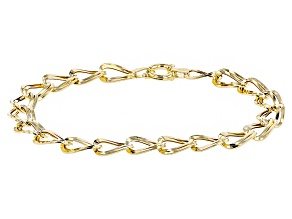 10k Yellow Gold Hollow Curb Link Bracelet 7.5 inch