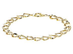 10k Yellow Gold Hollow Double Curb Link Bracelet 8 inch