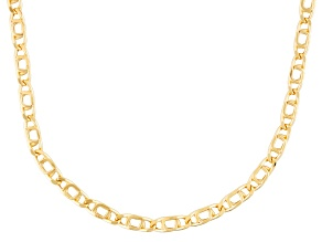 10k Yellow Gold Hollow Marquise Link Necklace 18 inch