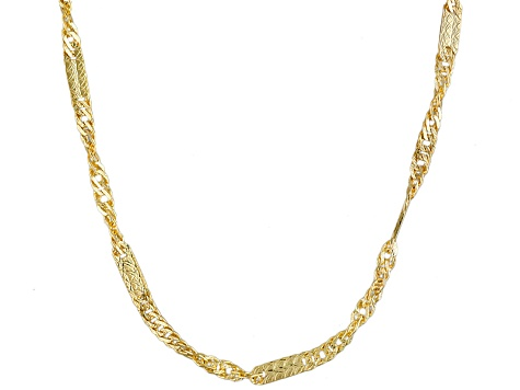 10k Yellow Gold Curb Link Necklace 20 inch