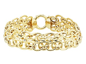 10k Yellow Gold Hollow Oval Link Two Row Bracelet 8 inch