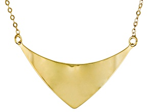 10k Yellow Gold Geometric Center Station Necklace 18 inch