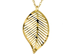 10k Yellow Gold Leaf Necklace 18 inch