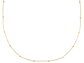 10k Yellow Gold Hollow Cube Station Necklace 18 inch