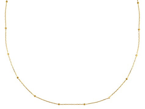 10k Yellow Gold Hollow Cube Station Necklace 20 inch