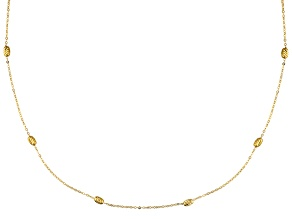 10k Yellow Gold Hollow Bead Station Necklace 24 inch