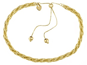 10k Yellow Gold Hollow Rope Link Sliding Adjustable Bracelet 10 inch