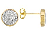 10k Yellow Gold & Rhodium Over 10k Yellow Gold Button Stud Earrings