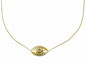 10k Yellow Gold Hollow Oval Bead Box Link Necklace 18 inch