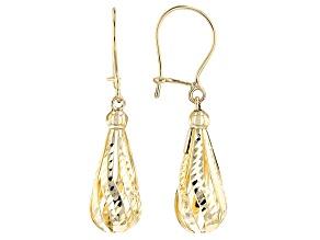10k Yellow Gold Hollow Diamond Cut Tear Drop Earrings