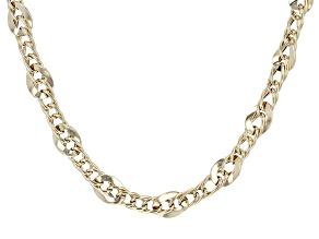 10k Yellow Gold Hollow Curb Link Necklace 18 inch