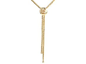 10k Yellow Gold Hollow Wheat Link Tassle Necklace 18 inch