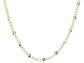 10k Yellow Gold And Rhodium Over 10k Yellow Gold Curb Link Necklace 18 inch
