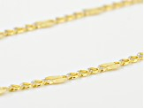 10k Yellow Gold And Rhodium Over 10k Yellow Gold Curb Link Necklace 20 inch