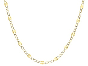 10k Yellow Gold And Rhodium Over 10k Yellow Gold Curb Link Necklace 24 inch