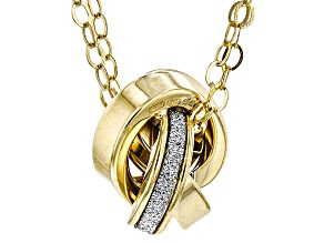 10k Yellow Gold Hollow Glitter Love Knot Chain Necklace 18 inch