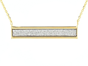 10k Yellow Gold Hollow Bar Station Necklace 18 inch