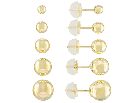 3ac7e8b67 10k Yellow Gold Ball Stud Earring Set Of 5 - CNG860 | JTV.com