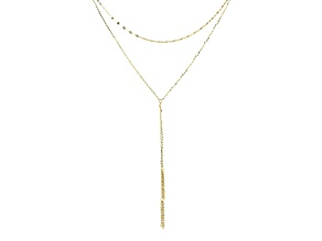 10k Yellow Gold Cable Link Tassel Necklace 18 inch