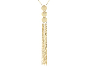 10k Yellow Gold Cable Link Tassel Necklace 28 inch