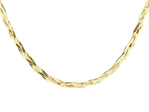 10k Yellow Gold Multi-Strand Herringbone Link Necklace 18 inch