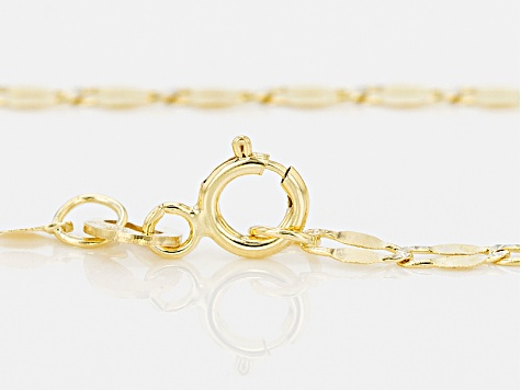 10k Yellow Gold And Rhodium Over 10k Yellow Gold Flat Cable Link Necklace