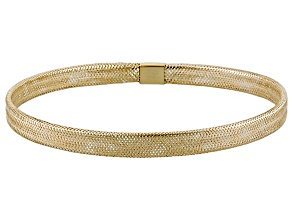 10k Yellow Gold Hollow Mesh Link Bangle Bracelet 7 inch