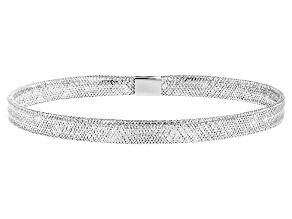 10k White Gold Mesh Link Bangle Bracelet 7 inch
