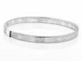 10k White Gold Mesh Link Bangle Bracelet 7 inch