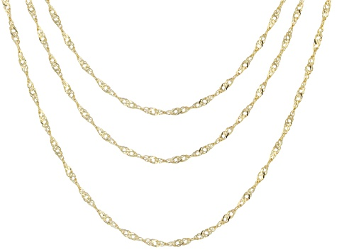 96c8fa23dee59 10k Yellow Gold Singapore Link Chain Necklace Set Of Three 18 20 24 inch