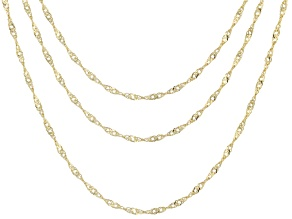 10k Yellow Gold Singapore Link Chain Necklace Set Of Three 18 20 24 inch