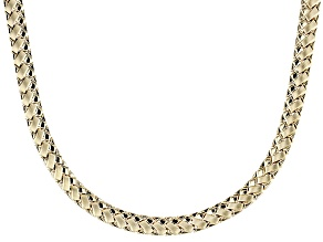 10k Yellow Gold Hollow Chevron Link Necklace 18 inch