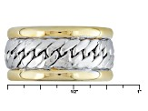 10k Yellow Gold With 10k White Gold Hollow Band Ring