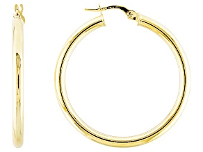 10k Yellow Gold 30mm Tube Hoop Earrings