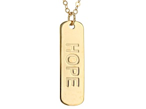 10k Yellow Gold Hope Script Bar Necklace 20 inch