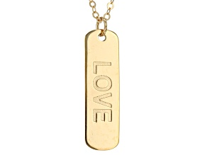 10k Yellow Gold Love Script Bar Necklace 20 inch