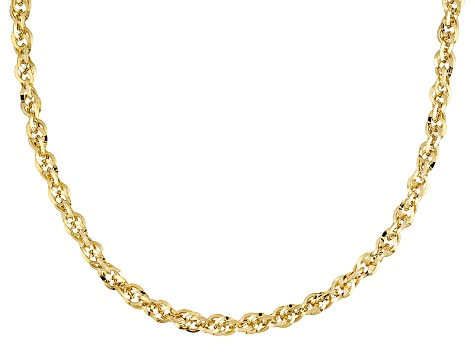 10k Yellow Gold Hollow Cable Link Chain Necklace 22 inch 4.0mm
