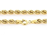 10k Yellow Gold Hollow Rope Link Necklace 18 inch 3.5mm