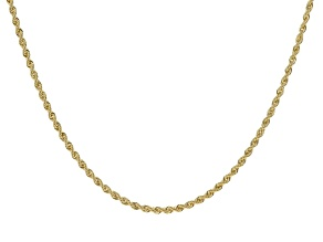 10k Yellow Gold Hollow Rope Link Necklace 20 inch 3.5mm