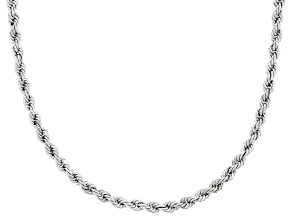 Rhodium Over 10k White Gold Rope Necklace 18 inch 3.7mm Gauge