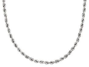 Rhodium Over 10k White Gold Rope Necklace 20 inch 3.7mm