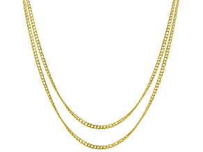 10k Yellow Gold Hollow Curb Link Necklace Set Of Two 18 & 22 inch