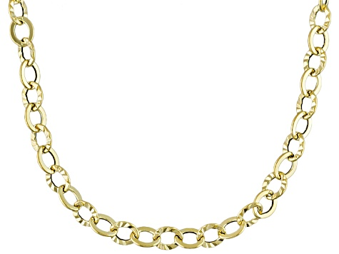 10k Yellow Gold Hollow Rolo Link Necklace 18 inch