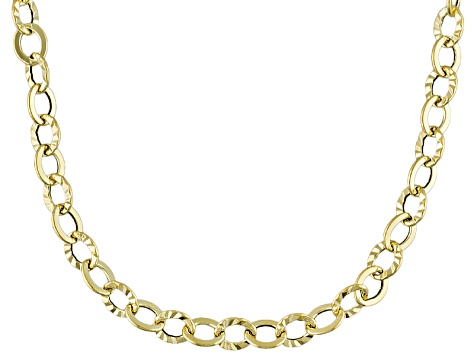 10k Yellow Gold Hollow Rolo Link Necklace 20 inch