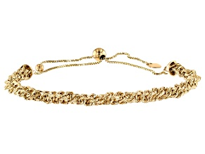 10k Yellow Gold Box Link Sliding Adjustable Bracelet