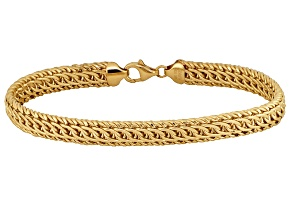 10k Yellow Gold Hollow Diamond Cut Woven Link Bracelet 7.5 inch